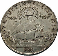 1938 SWEDEN w GUSTAV V ADOLF SWEDISH LARGE Genuine Silver 2 Kronos Coin i75386