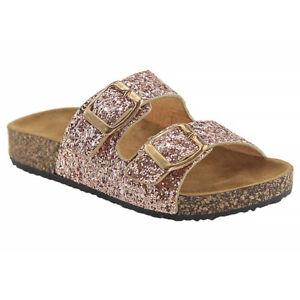 New Women & Kids Glitter Sequin Double Buckle Strap Slide Footbed Summer Sandal