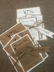 Personalised Rustic/Retro/Vintage wedding invitation with RSVP Info Card We Do