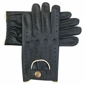 Men's Driving Gloves Classic Cow Napa Leather Slim Fit Design Black Brown 514