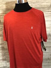 Men's NWT Spyder Red Short Sleeve Crewneck T Shirt Stretch Breathable XL Red N18