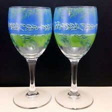 Luminarc Summer Leaves Wine Glasses Set of 2 Clear w Blue and Green 8 oz