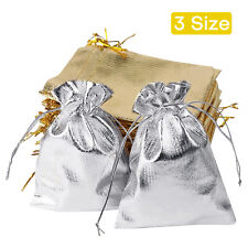 50pcs Gift Bags Drawstring Jewelry Pouches Party Favor Goody Bags Gold Silver