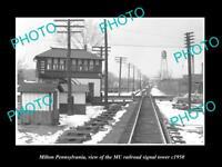 OLD LARGE HISTORIC PHOTO OF MILTON PENNSYLVANIA, MU RAILROAD SIGNAL TOWER c1950