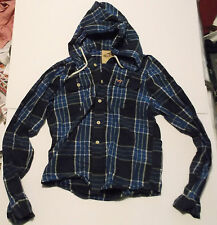 HOLLISTER MENS HOODED CHECK SHIRT 40 INCH CHEST - SUPERB!FREE UK POSTAGE.