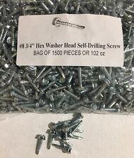 (1500) #8 X 3/4 INDENTED HEX WASHER HEAD SELF DRILLING TEK SCREW 1500 SCREWS!!