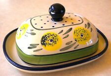 "NEW Polish Pottery 8"" Stoneware Butter Dish Boleslawiec Poland"