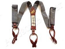 New Ralph Lauren RRL Vintage Striped Indigo Blue and Leather Suspenders Braces
