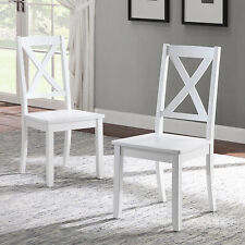 Wooden Farmhouse Dining Chairs Country Cottage Office Room Seat White Set of 2