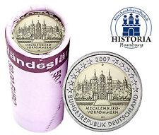 Schweriner Schloss 25 x 2 Euro Münzen Deutschland 2007 bankfrisch Mzz G in Rolle
