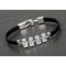 Crystal Baguette Platinum Plated Black Bracelet: 2cm x 7cm: Gift Boxed