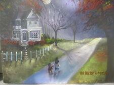 Moonlit Folk Art Halloween Haunted House Trick or Treat Moon Woods Lizzy Rainey