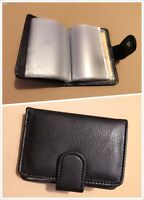 New Mens Bifold Leather 26 ID Cards Photos Holder Wallet Clutch Black Secure 778