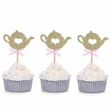 Set of 24 Golden Glitter Teapot Cupcake Toppers Tea Party Baby Shower Picks - by