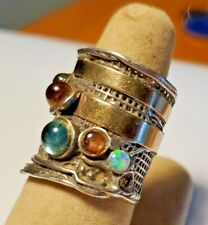 Handcrafted Sterling Silver Ring w/ Gold and Stones