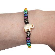 Elephant Bracelet Rainbow Bead Wristband Bangle Mens Ladies Boys Girls Jewellery