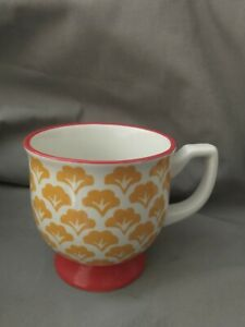RARE Pioneer Woman Footed Mug Cup FLEA MARKET Yellow Fans Red Vintage Style
