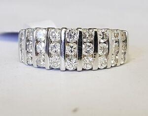 18ct gold 3 row diamond half eternity ring