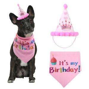 Dog Pets Puppy Happy Birthday Hat Headwear Bandana Neckerchief Ties Party Fancy