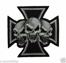 Maltese Iron Cross with 3 Skulls Embroidered Patch Motorcycle Biker