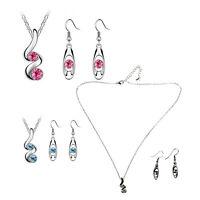 Damen Schmuck Set Halskette-Ohrringe mit Kristall, Legierung, Tropfen Anhaeng z6