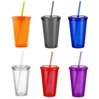 450ML New Portable Travel Double Walled Plastic Drinking Cup with Lid Straw NG20