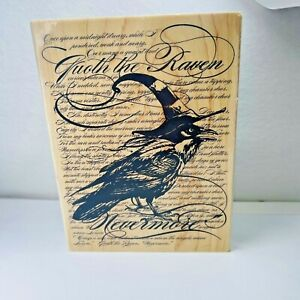 New Stampendous Rubber Stamp Raven Collage Background Halloween Steampunk Wood
