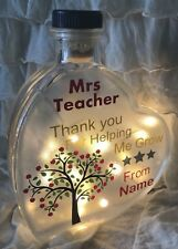 "LED 6"" Glass Light Heart Bottle Lamp Personalised Best Teacher Tree Poem Gift"