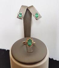 Vintage 14k gold Natural Emeralds Diamonds  Cluster Ring SZ 5.25  Earrings Set