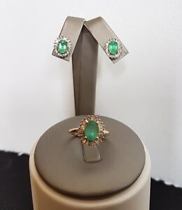 Vintage 14k gold Natural Emeralds Diamonds  Cluster Ring SZ 5.25  Earrings Set