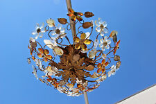French Mid-Century Cut Amber Crystal Floral Pendant Chandelier Maison Baguès
