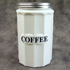 MILK WHITE GLASS TALL COFFEE CANISTER w/ Metal Lid ~COLUMN DESIGN~ BLACK LETTERS