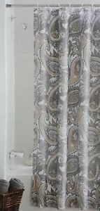 Fabric Shower Curtain Paisley Green Ivory
