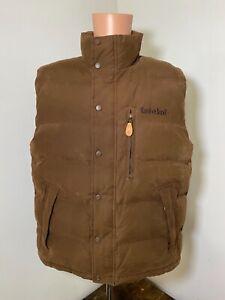 Timberland men's brown full zip snap button duck down puffer vest size Medium