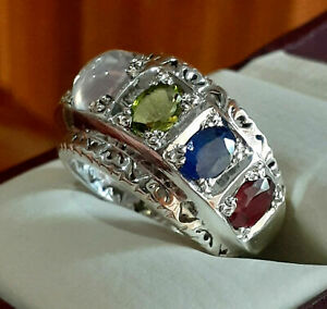 Natural Multistone Rings Mens Engagement Ring Emerald Ruby Sapphire Agate Band