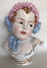 RARE Dresden Porcelain 19c Bust Of Baby Girl Figurine