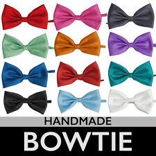Men's Silk Satin Plain Tuxedo Solid Bow Tie Formal Black Wedding Bowtie Necktie