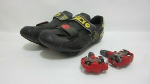 SIDI Bicycle Shoes Size 40 ITALY w Clipless NICON Peddles Red 2 Bolt 1 Owner