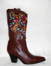 TWO LIPS BROWN LEATHER KNEE HIGH MULTI-COLORED EMBROIDERED BOOTS, SZ 9, NICE!