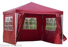 Pavillon Gartenzelt 3 x 3 m WASSERDICHT Partyzelt Pavillion mit 4 Seiten in Rot