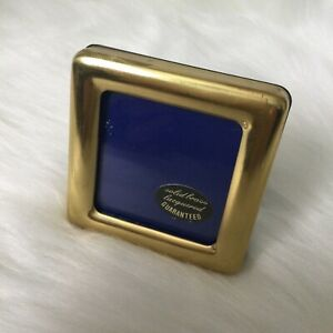 "Vintage Solid Brass Miniature Photo Frame 2""x2"" Freestanding"