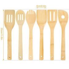 6Piece Bamboo Spatula Set Wooden Spoons Mixing Kitchen Utensil Cooking Tools Kit