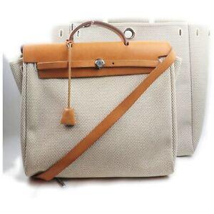 Hermes Tote Bag Her Bag MM Whites Canvas 1600980