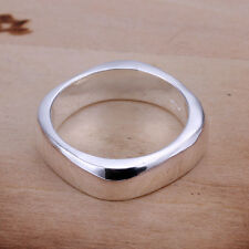*UK* 925 SILVER PLT SIMPLE SQUARE EDGE BAND RING LADIES MENS THUMB SHAPED 4 SIDE