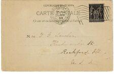 France 1900 Paris Exposition machine flag cancel on postcard to the U.S.