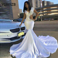 White Beaded Satin Mermaid Prom Celebrity Party Dress Evening Pageant New Gown