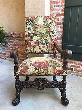 Antique French Oak Throne Arm Chair Louis XIV BARLEY TWIST Renaissance Tapestry