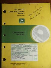 Vintage John Deere 110/112 Operators Manual