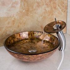 Beauty Bathroom Tempered Glass Basin Set Vessel Vanity Sink Bowl Brass Faucet