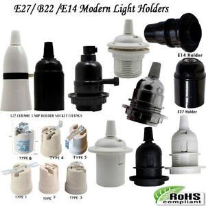 3x Light Bulb Lamp Holder Pendant Edison E27/B22 /E14 Cap Socket Vintage Base UK
